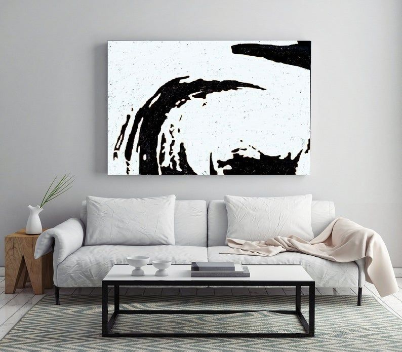 Abstract Painting Black White On Canvas Art Water Sea Etsy White Canvas Art Abstract Canvas Painting Canvas Art Painting