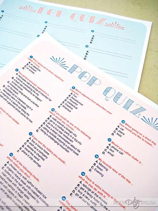 Couples Quiz and Interview Date Night Printable Kit Couples