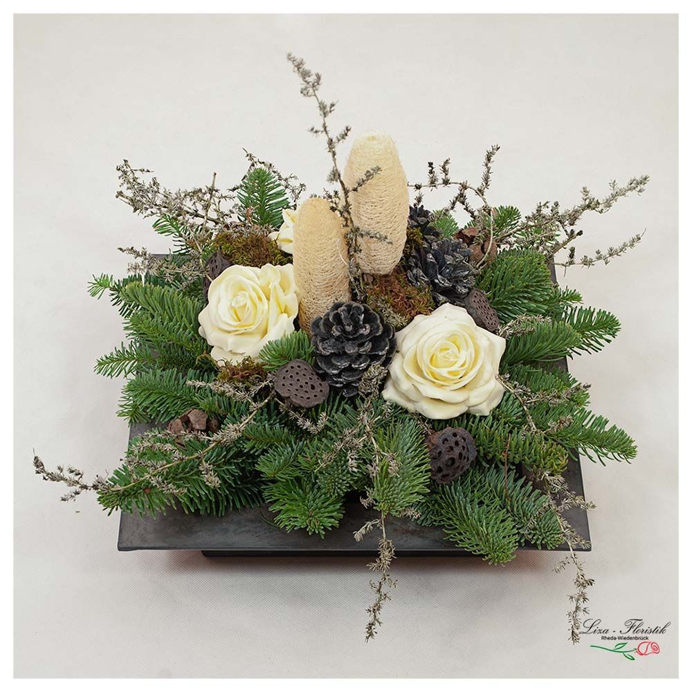 All Saints Day  arrangement in a bowl with wax roses Allerhei   All Saints Day  arrangement in a bowl with wax roses All Saints Day  a