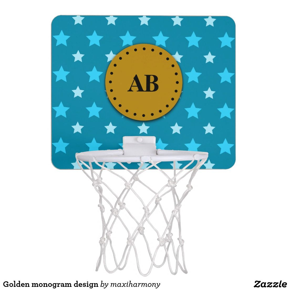 Golden monogram design mini basketball hoop
