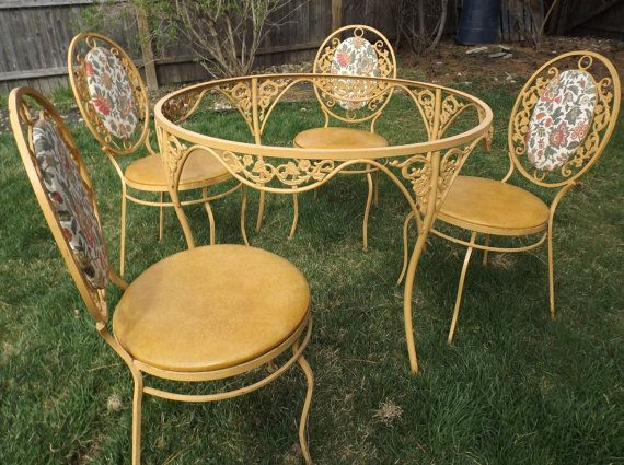 Vintage Wrought Iron Warm Gold Yellow Patio Set Decorative Table Four Chairs Wrought Iron Patio Furniture Vintage Metal Table Wrought Iron