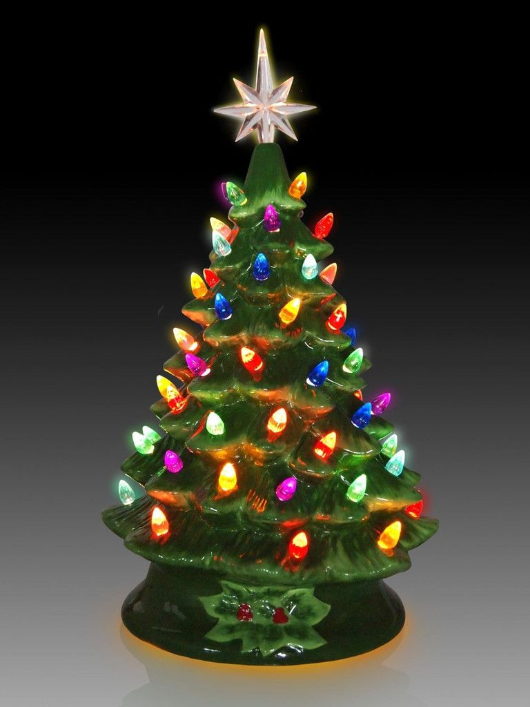 Ceramic Tabletop Christmas Tree With Lights Interesting Tabletop Ceramic Lighted Green Christmas Tree  Christmas Trees Inspiration Design
