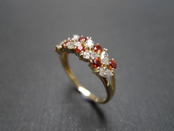 New Marquise Diamond and Citrine Wedding Ring in K by honngaijewelry