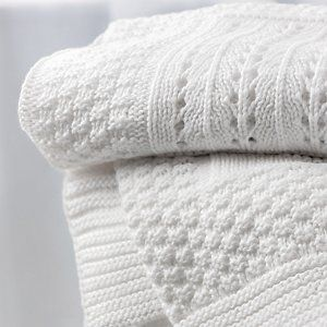 Knitted Patchwork Baby Blanket   The White Company