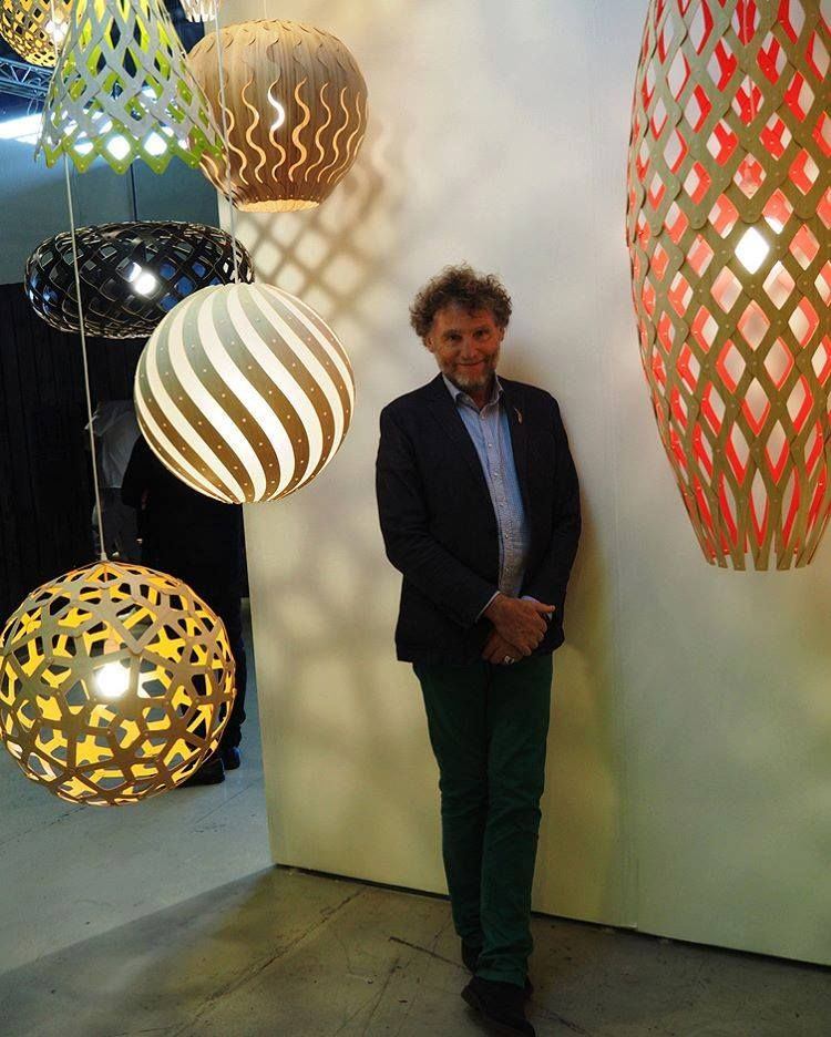 A happy David Trubridge and his modern pendant lights at our booth at WestEdge Design Fair. Click image for where to buy.