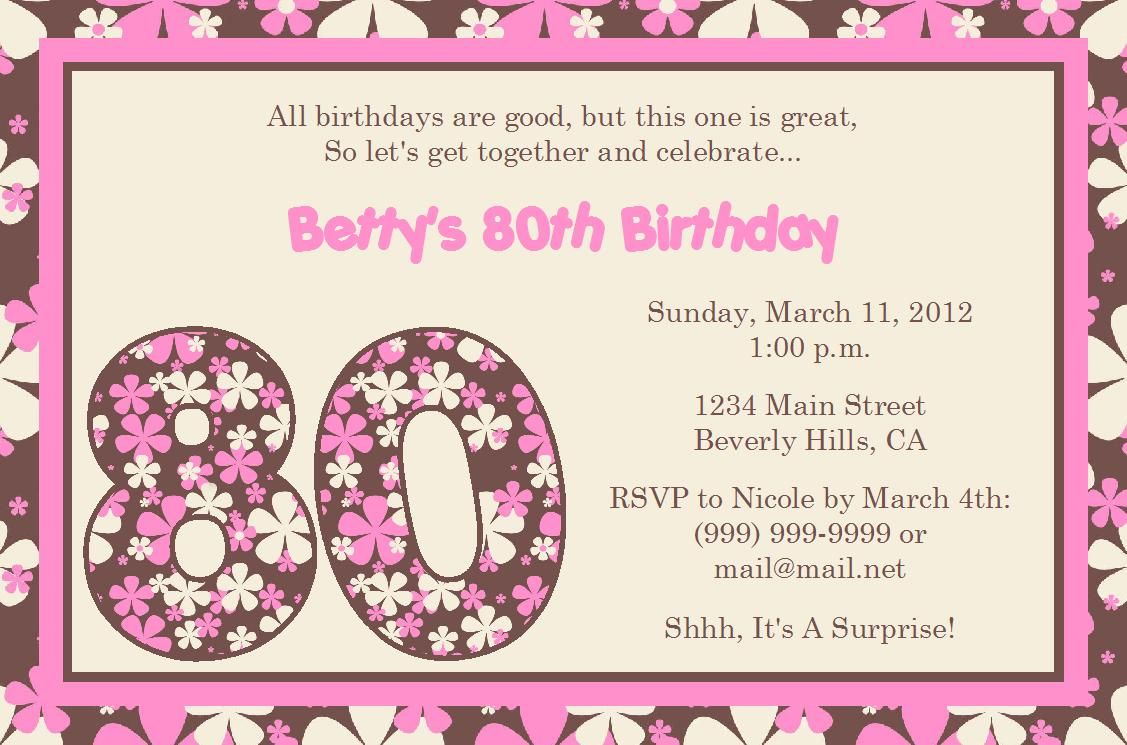 Quotes For 80th Birthday Invitation Birthday Ideas Pinterest