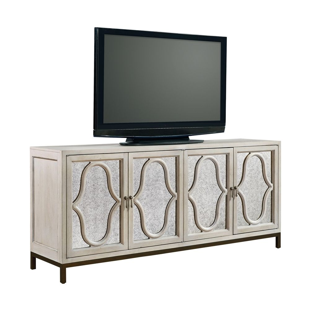 Belgian Cottage Mirrored Media Console Antiqued White