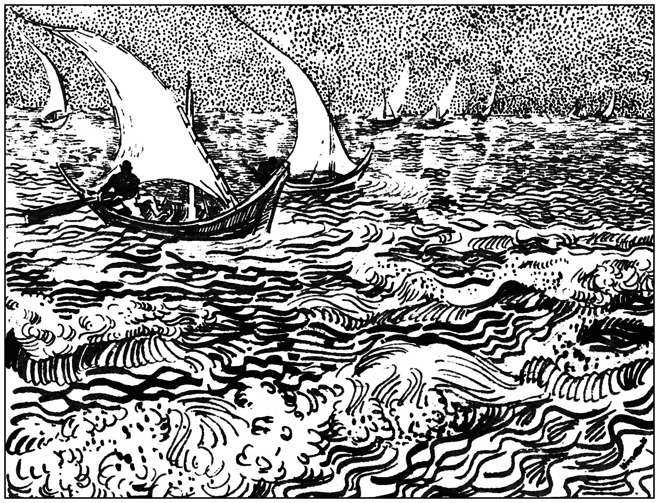 Coloring page for adult created from a Van Gogh drawing : Saintes ...