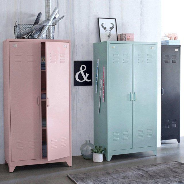 armoire vestiaire m tal 2 portes hiba la redoute interieurs la redoute mobile chambre. Black Bedroom Furniture Sets. Home Design Ideas
