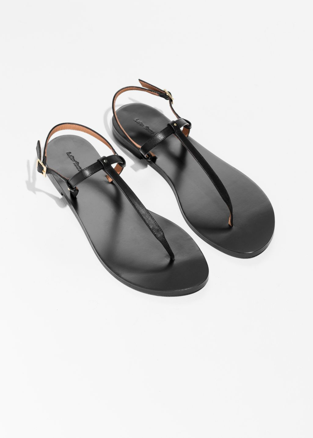 Back image of Stories thin strap toe sandal in black