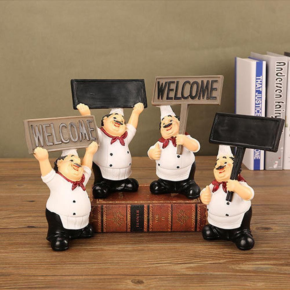Ylshrf Chef Decoration Chef Figurine Restaurant Resin Cute Chef Figurine Miniature Statue Ornaments Welcome Board Table Decor Walmart Com Chef Decorations Table Decorations Figurines