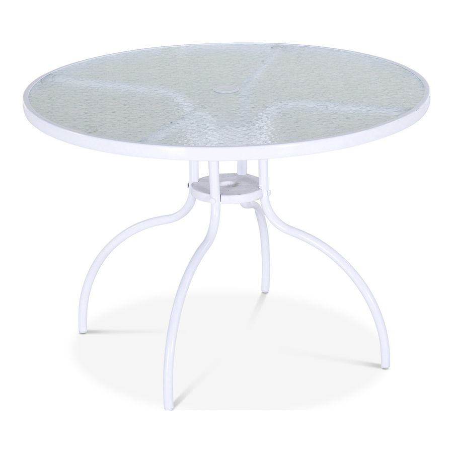 Garden Treasures Pagosa Springs Round Outdoor Dining Table 40 In W X 40 In L With Umbrella Hole Lowes Com In 2021 Round Dining Table Patio Table Round Dining [ jpg ]
