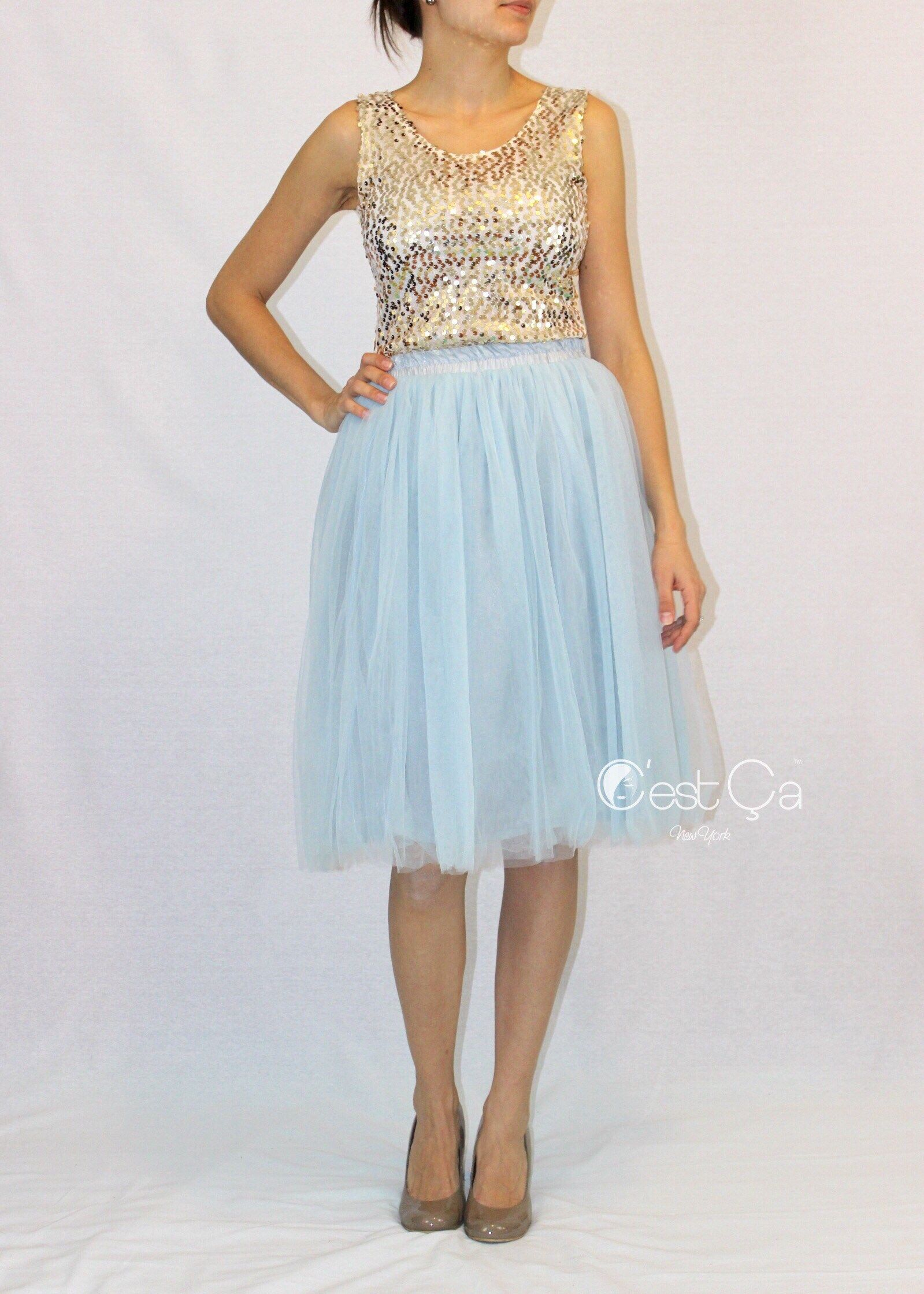 Claire Baby Blue Soft Tulle Skirt - Below Knee Midi | Blue tulle ...