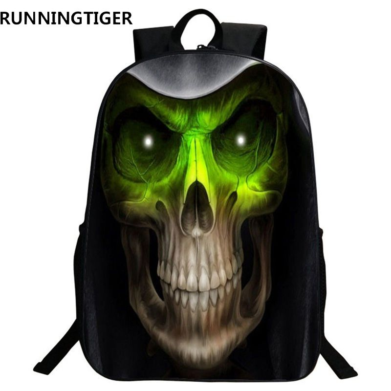 69fc916a256 RUNNINGTIGER 3D Skull Printing Backpack School Bags For Boys Girls ...