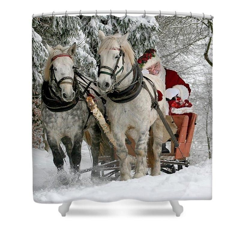 Santa Sleigh With Horses Shower Curtain Santa Sleigh Wood Print Red Gifts