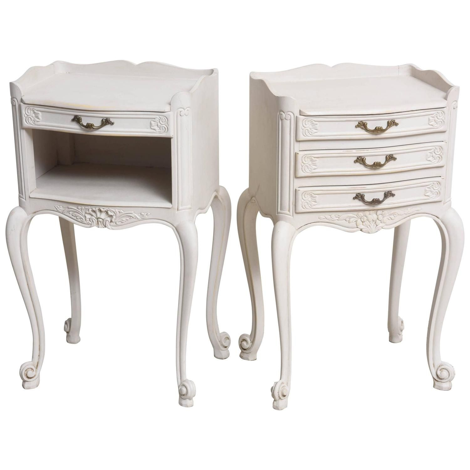 Pair Of Painted Louis Xv Style Bedside Cabinets France Circa
