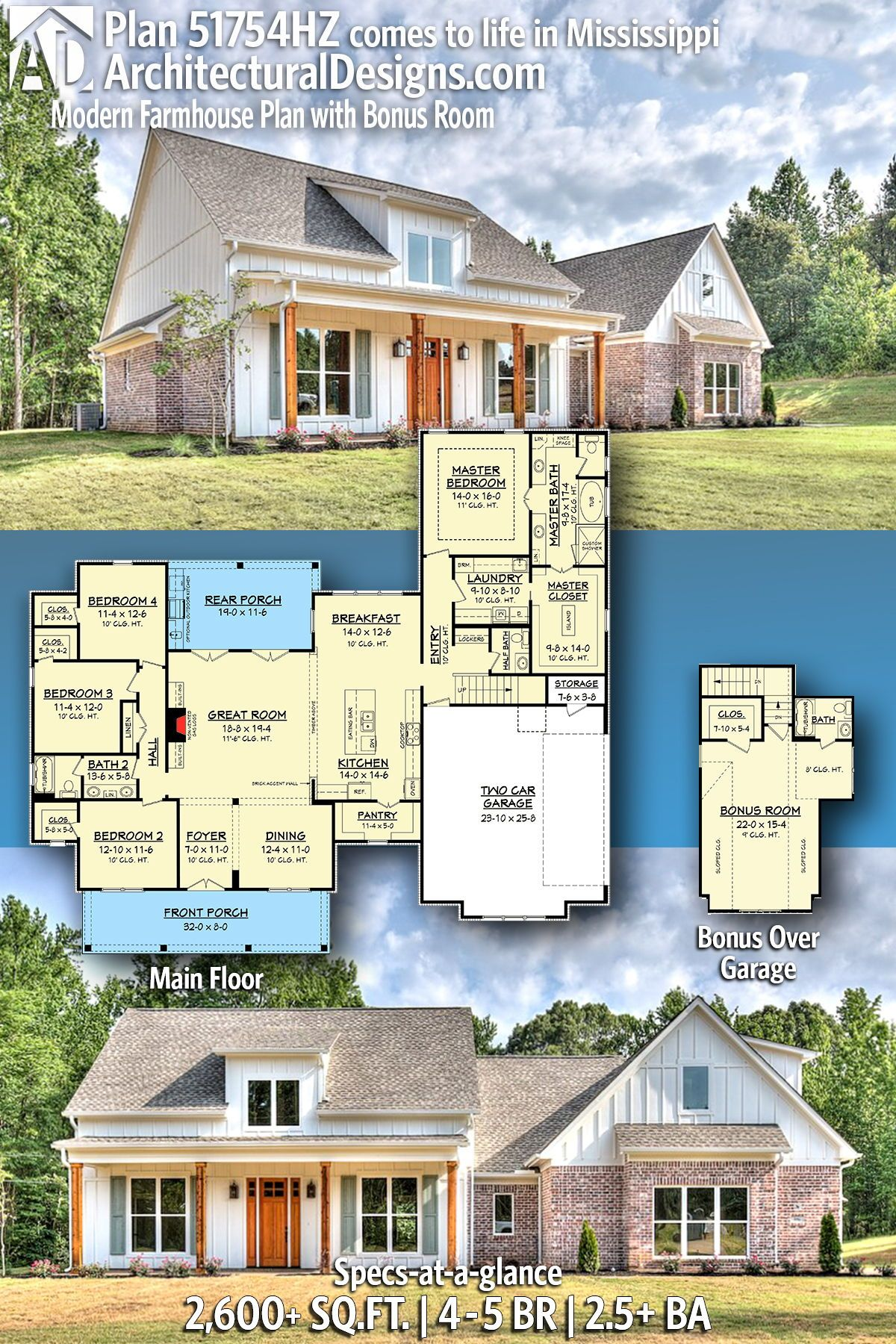Plan 51754hz Modern Farmhouse Plan With Bonus Room Farmhouse Plans Modern Farmhouse Plans Dream House Plans