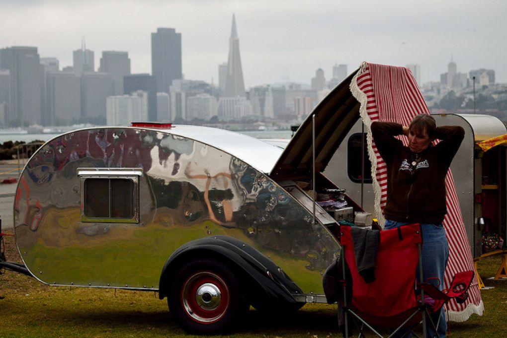 San Francisco - treasure island flea market - teardrop trailer - Tom Hilton