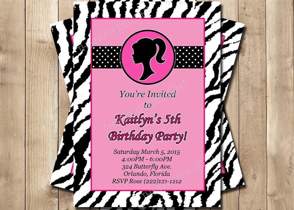 barbie zebra print birthday invitation - hot pink polka dot party, Birthday invitations