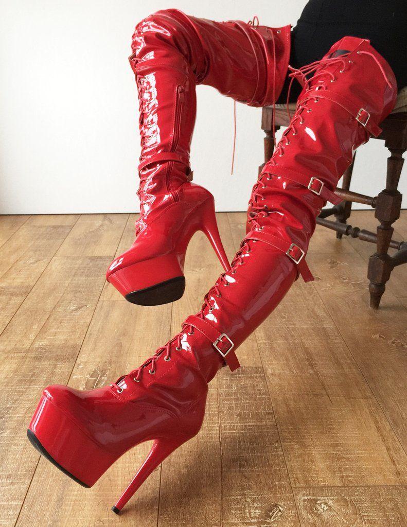 13e35e5aec9 15cm Platform Laceup Crotch Half Zip Boots Goth Punk Pinup Harley Quinn  Cosplay BDSM