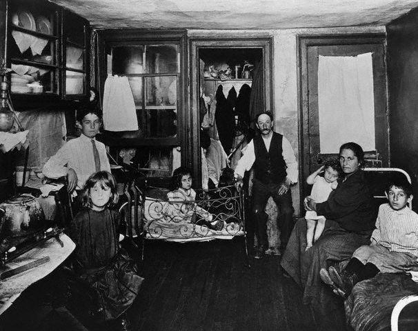 Poor Family in Room of Tenement Apartment