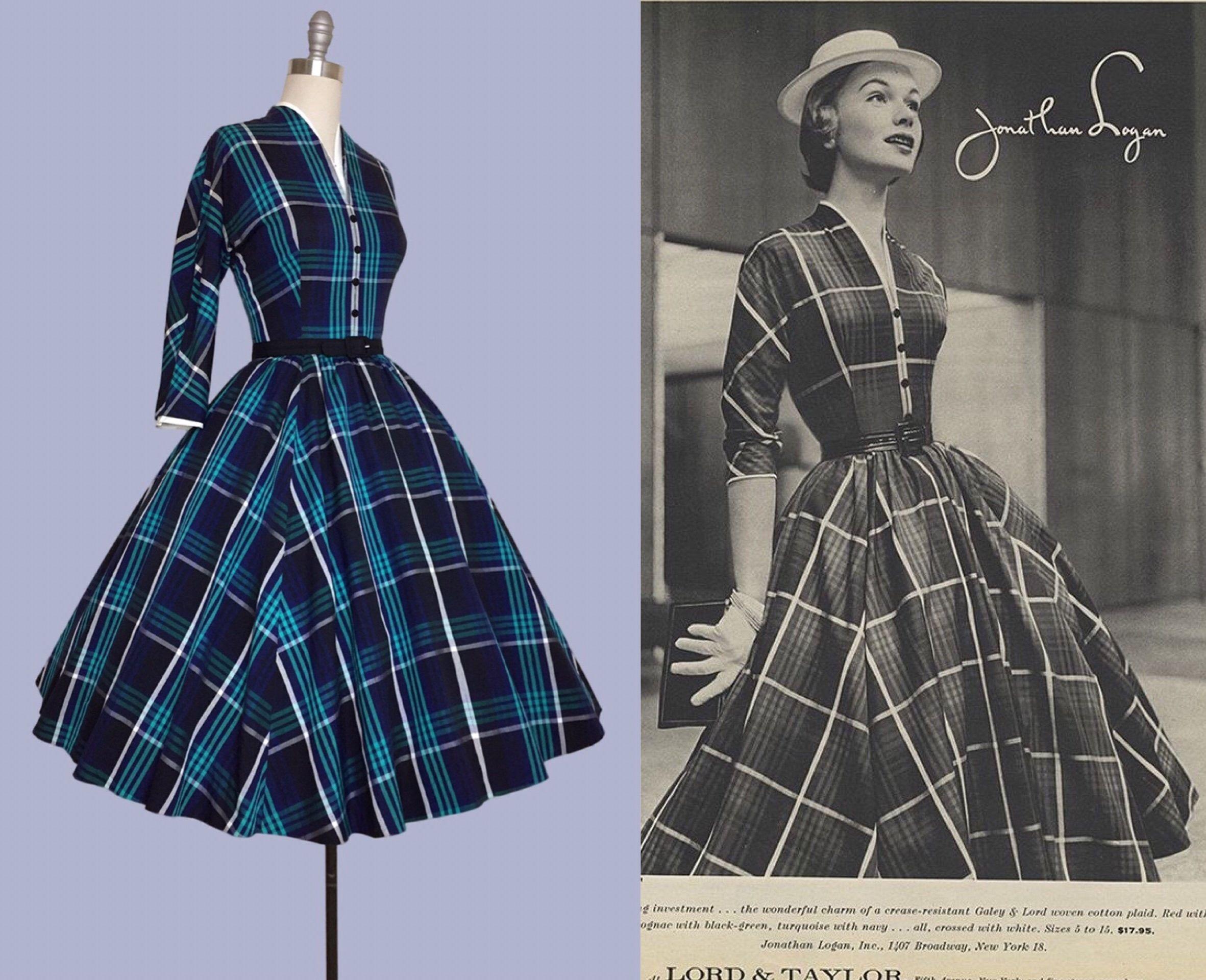 d6e1d545341864 Jonathan Logan 1950s New Look Cover Girl, Plaid Green Circle Skirt /  Cocktail Party Dress