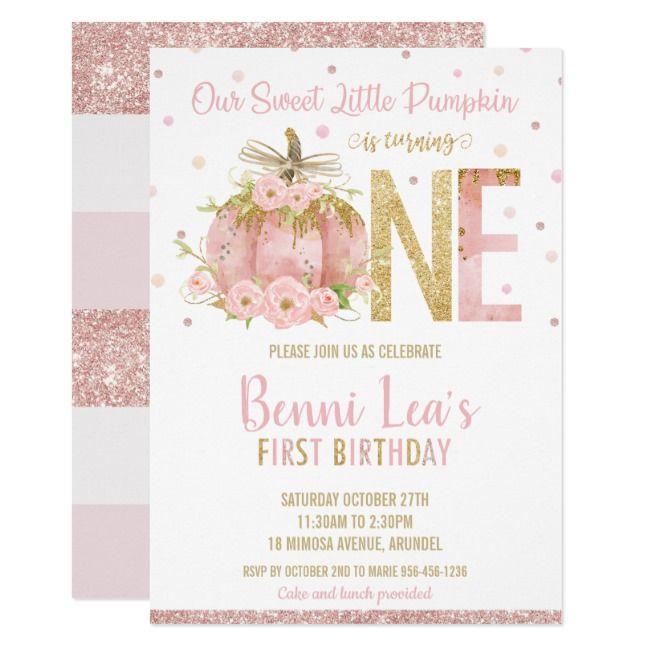 Elegant Pink Pumpkin 1st Birthday One Girl Invitation | Zazzle.com