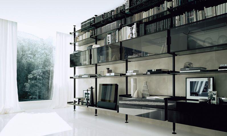 Rimadesio libreria Zenit struttura alluminio nero, mensole e vetrine ...