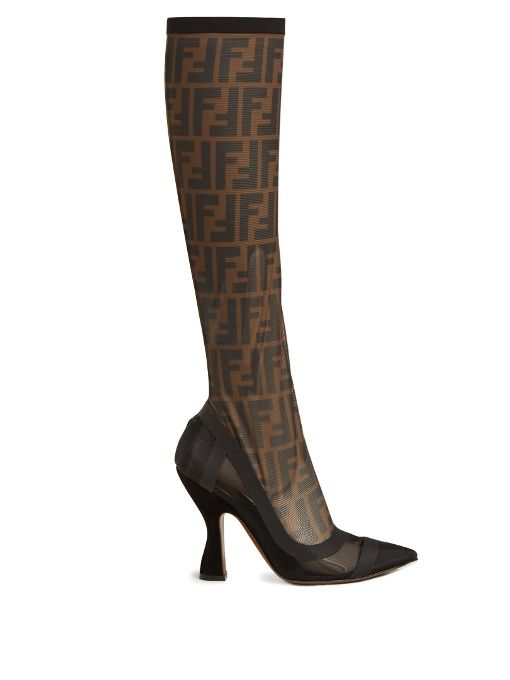 clearance 100% guaranteed Fendi Pointed-Toe Platform Knee-High Boots clearance official kN67l