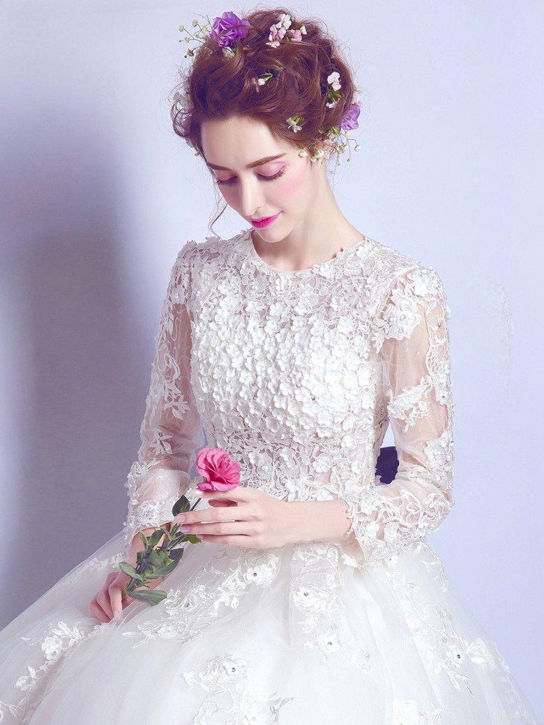 9b5a1ca5d Famous Ball Gown Scoop Neck Tulle Floor-length Appliques Lace Long ...