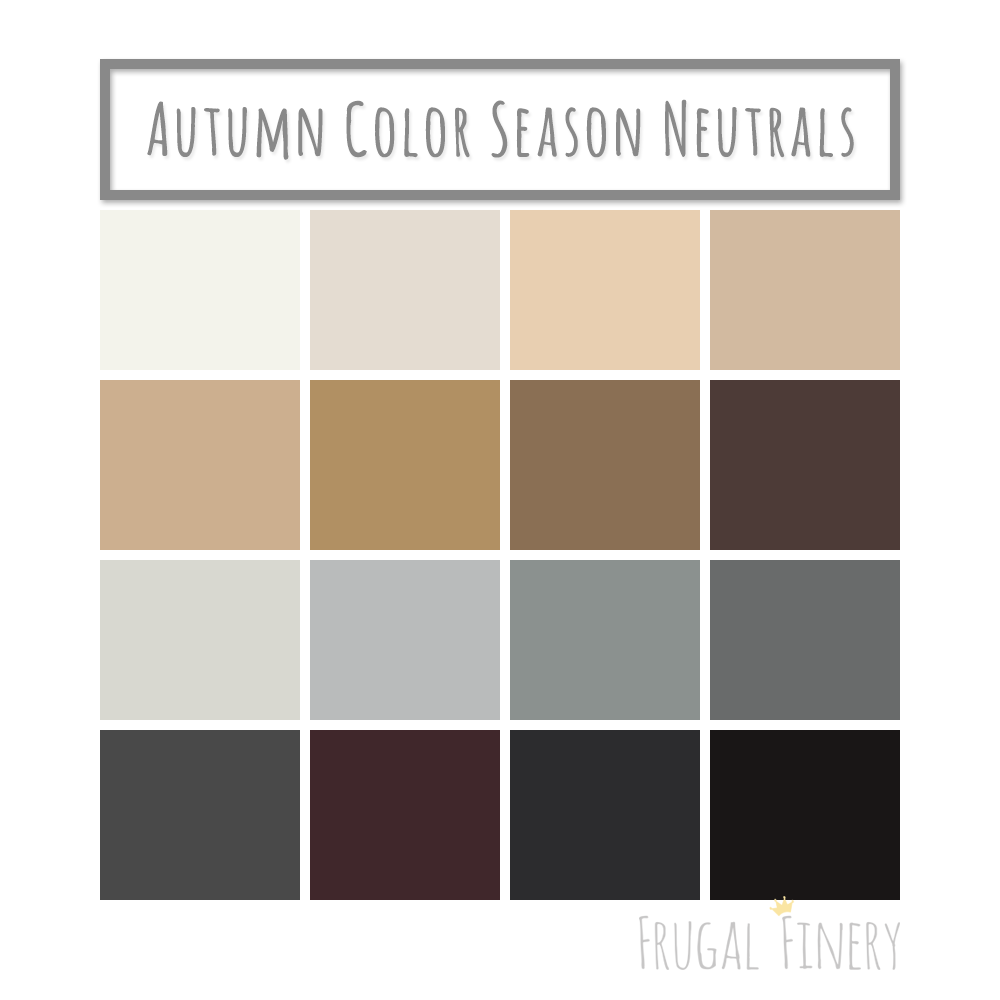 Neutral colors for the Autumn Color Season wardrobe palette. No pure white or pure black (unless you're a dark or deep Autumn). Instead opt for shades of beige, brown, warm grays, and the darkest variations of warm colors in place of black. #deepautumn