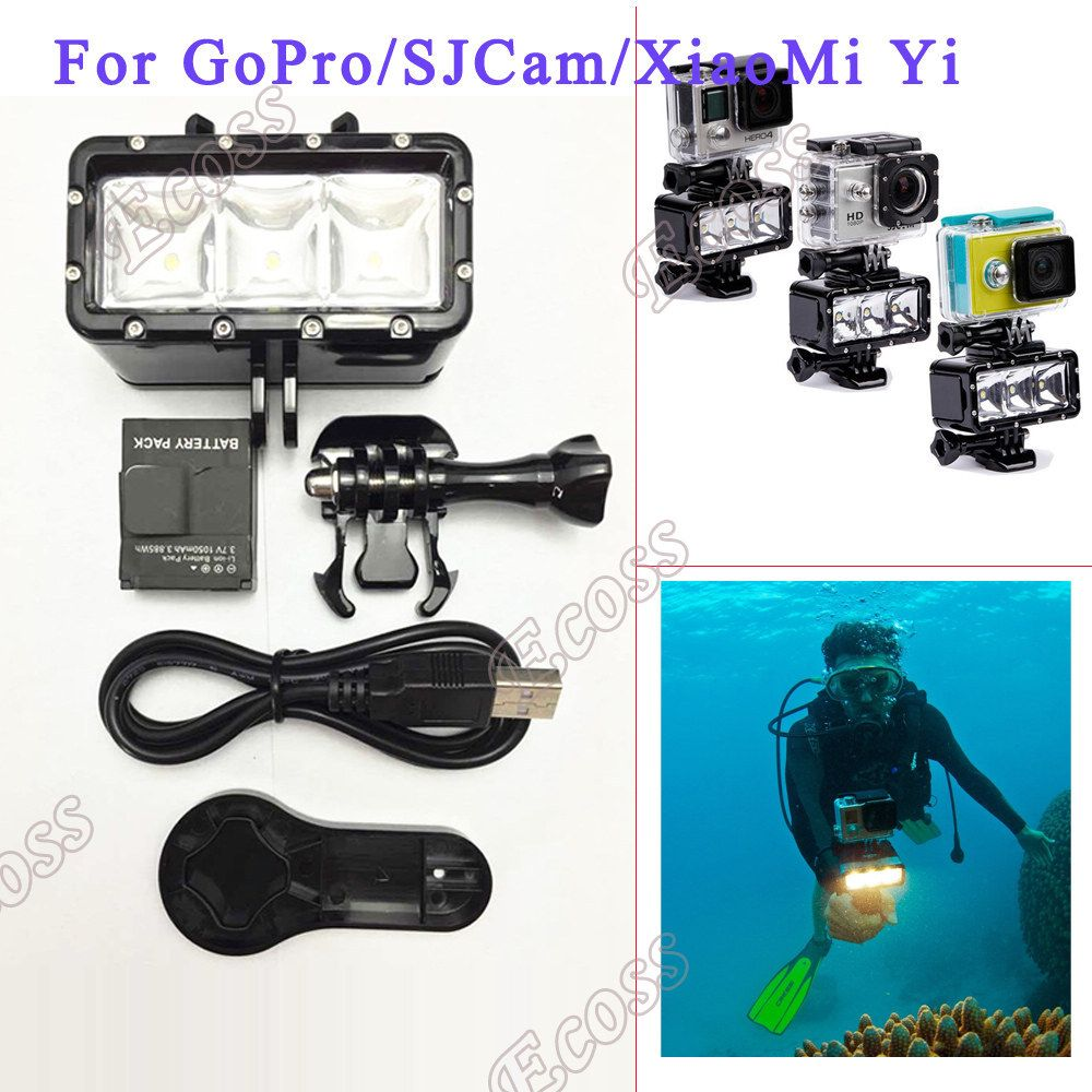 Accessories GoPro Underwater Light Diving Waterproof LED Video Battery Mount For Session Hero4