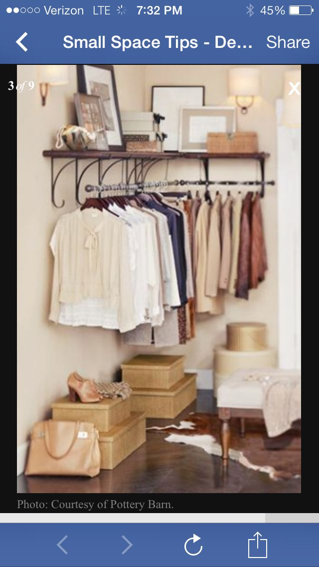Bedroom ideas for more closet space. Hang my dresses?