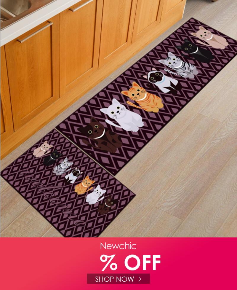 I Found This Amazing 2pcs Set Cartoon Cat Kitchen Floor Carpet