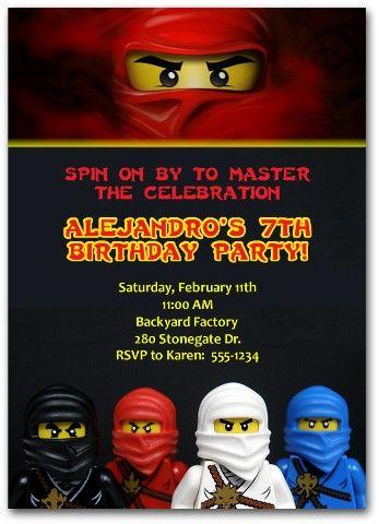 Lego Ninjago Invitations legoninjagoparty legoninjagoinvitation