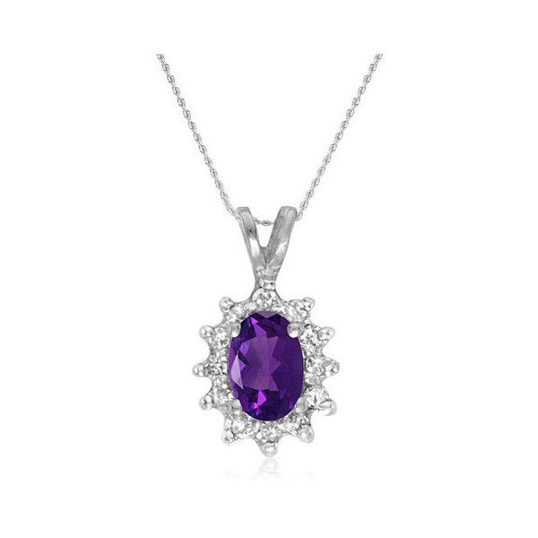 """10K White Gold Amethyst and Diamond Pendant on an 18"""""""" Chain 1/2ct tgw (635 PLN) ❤ liked on Polyvore featuring jewelry, pendants, white gold jewellery, diamond pendant, chains jewelry, white gold jewelry and white gold diamond pendant"""