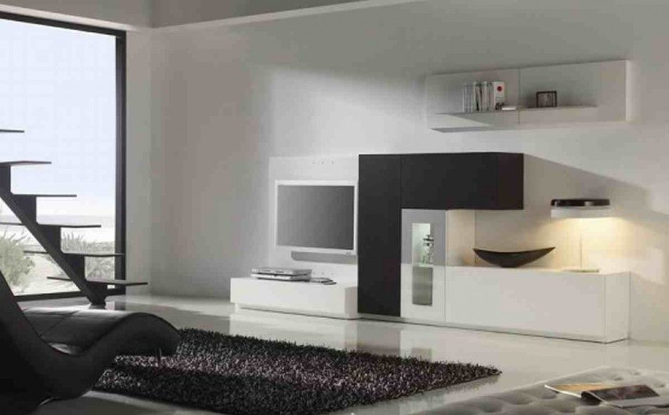 [Living Room] : Elegant And Minimalist Living Room Design With Black And White Shades Available Dark Sofa Along With White Floor Tiles With Black Synthetic Rug Along With White Pouffe Also Chest Of Drawer And Television Along With Bay Window Interior
