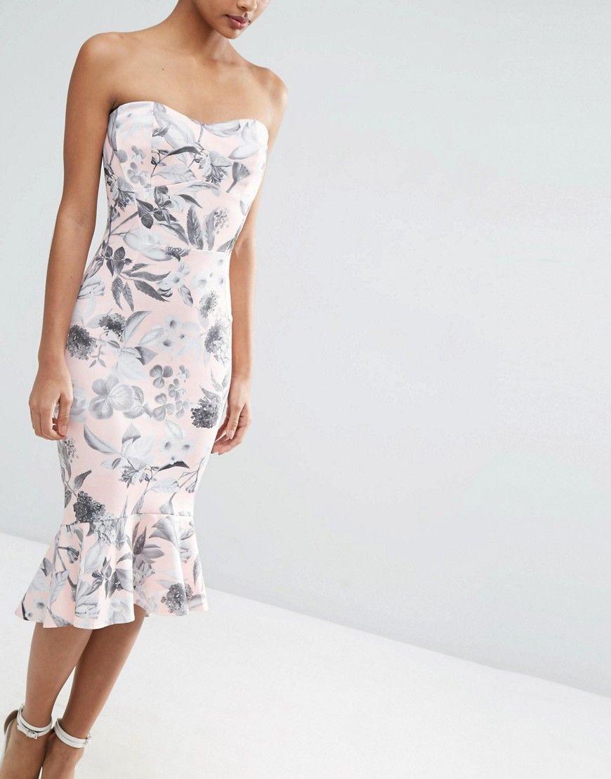 f207c6e07f45 Image 3 of ASOS Pink and Gray Floral Bandeau Pephem Midi Dress