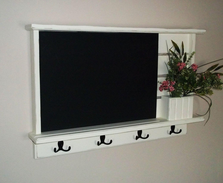 Wall Key Holder Chalkboard Wall Shelf Shabby Distressed Chic Furniture