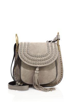 43379bda306ad CHLOÉ Hudson Small Studded & Braided Suede Shoulder Bag. #chloé #bags #shoulder  bags #stone #suede #