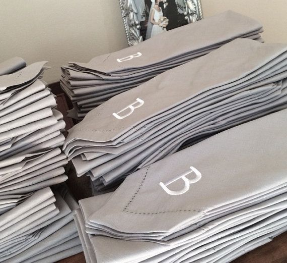 Bulk Monogrammed Wedding Cloth Napkins By Whitetulipembroidery