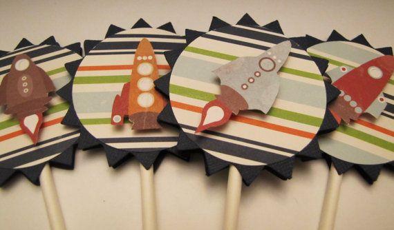 SPACESHIP ROCKETS  Cupcake toppers  set of 12  by kriskropmemories, $8.75