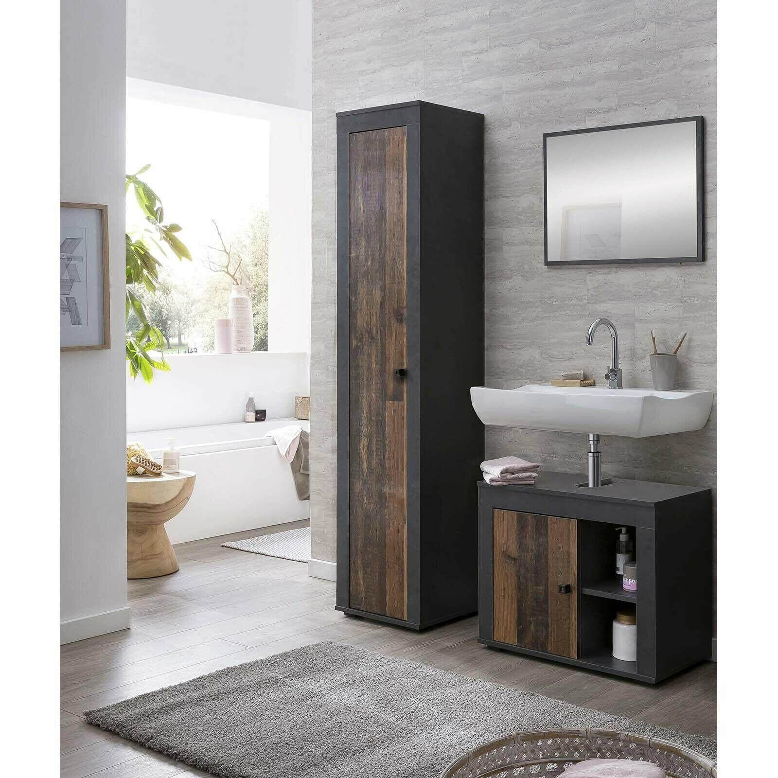 Badezimmer Mobel Set Spiegel Hochschrank Unterschrank Bad Graphit Old Style 3tlg In 2020 Unterschrank Bad Badezimmer Mobel Waschbeckenunterschrank