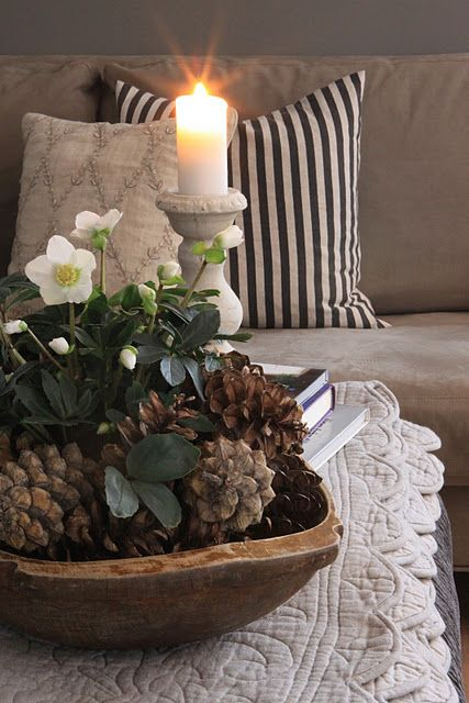 Wooden Bowl Decorating Ideas Beautiful  Decorating  Pinterest  Pinecone Dough Bowl And Trays