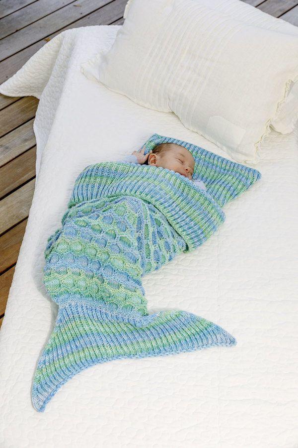 Photo of Meerjungfrauen-Decke stricken für Kinder und Erwachsene – Strickanleitung via M…