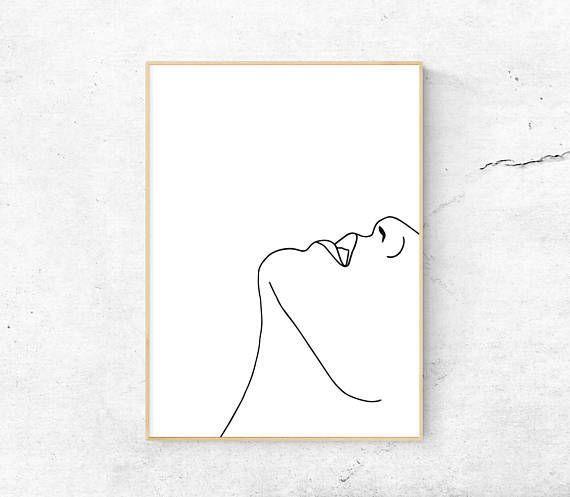 Photo of White Abstract Face, Body Printable Art, Minimal Print, Modern Art, Line Art, Home Decor, Digital Makaron