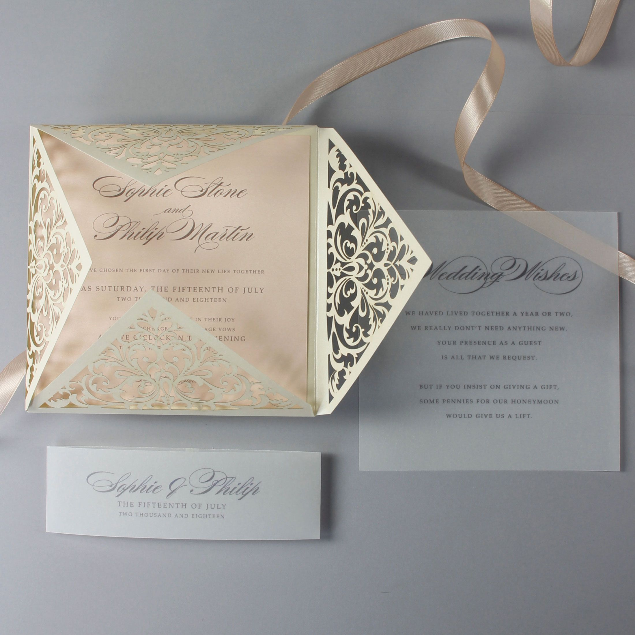 handmade wedding cards ireland%0A Champagne Laser Cut Lace Pocketfold Wedding Invitation   Wedding Wish Set