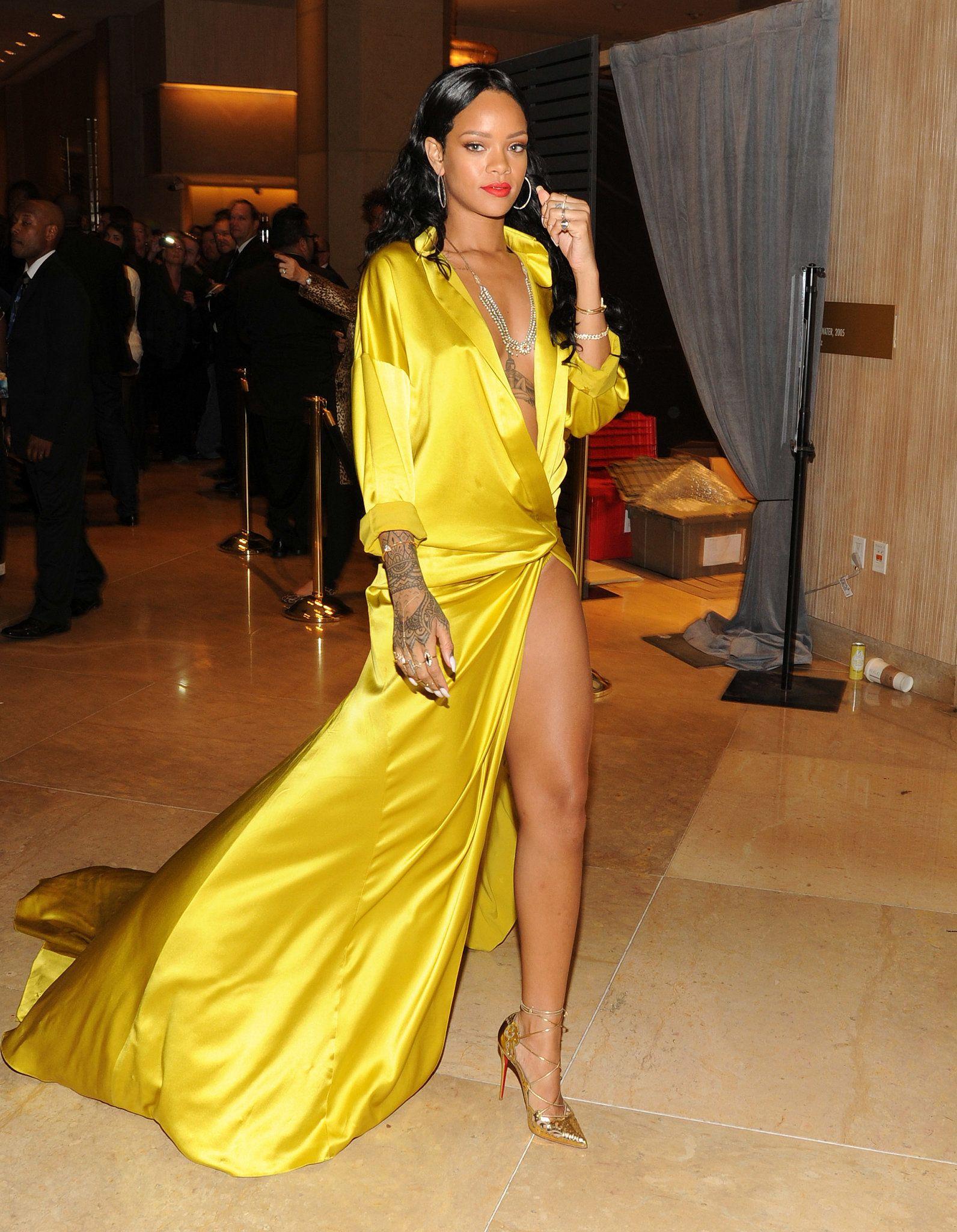 Rihanna at the PreGrammys Gala  Pre party Yellow dress and Rihanna