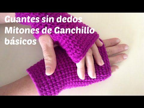 Mitones tejidos a crochet en punto cocodrilo o escamas - YouTube ...