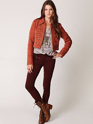 5 Pocket Seamed Knit Legging in burgundy from Free People
